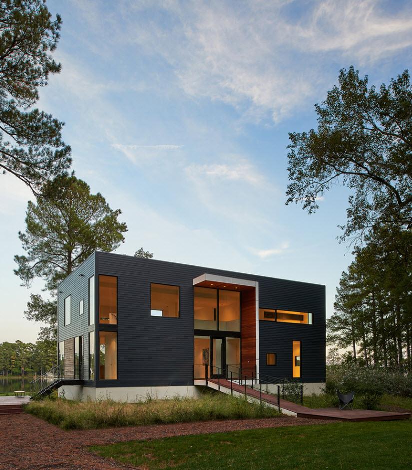 Fachada principal de moderna casa de dos plantas