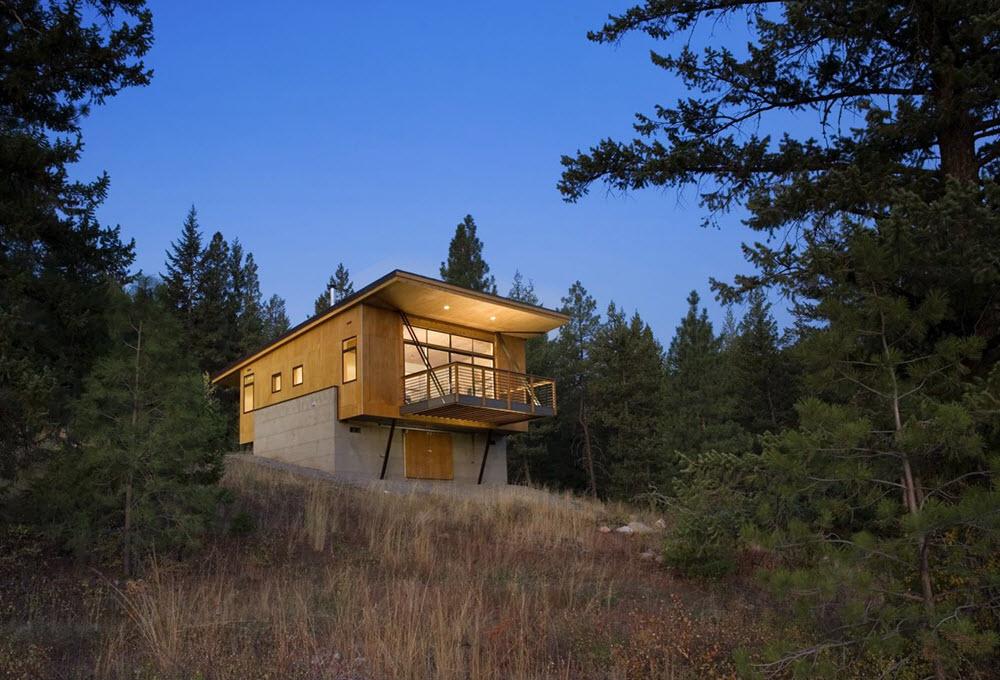 casa de campo de madera y concreto