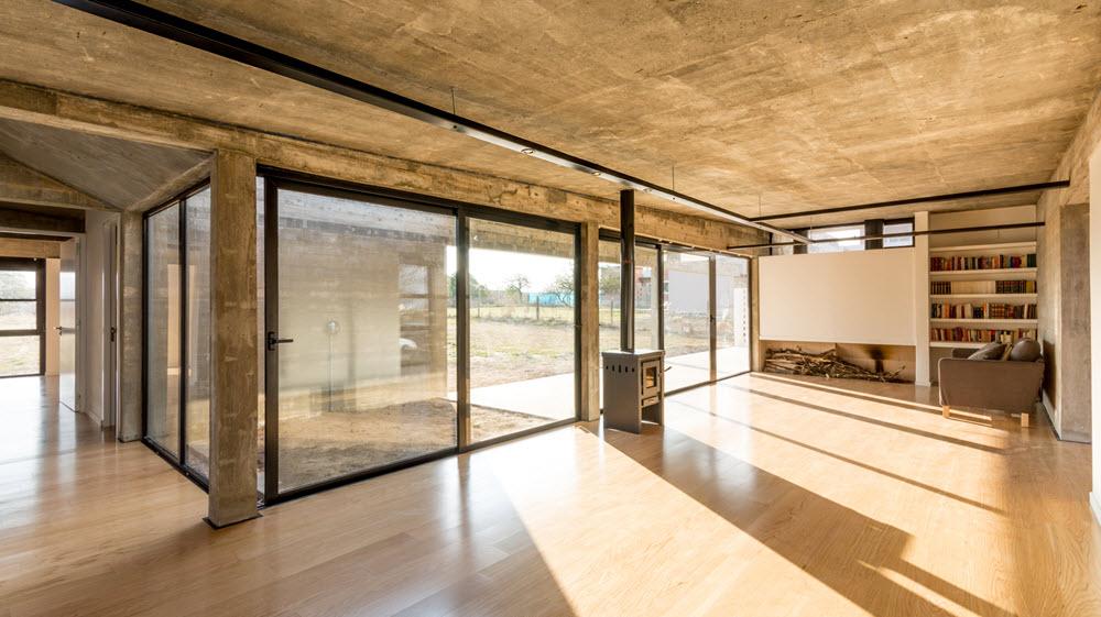 Diseño interior con acabados en hormigón
