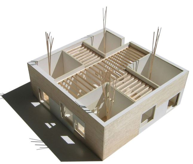 Dise o casa de campo 99 m2 planos de arquitectura for Casa moderna maqueta
