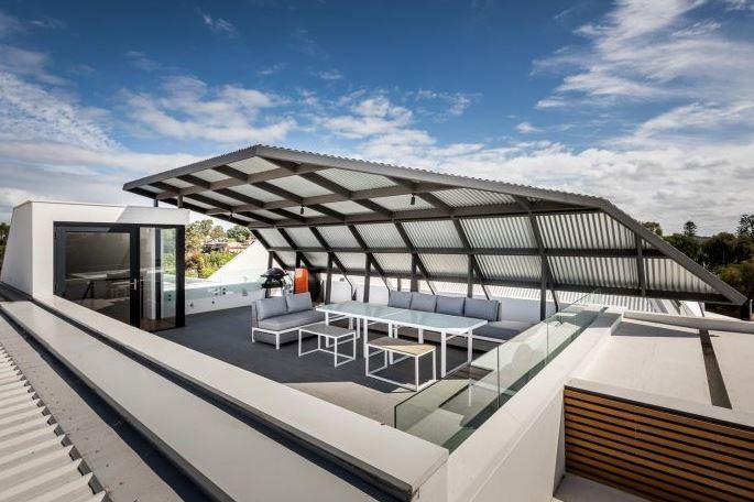 Dise o casa peque a dos pisos planos de arquitectura for Cubiertas modernas para terrazas