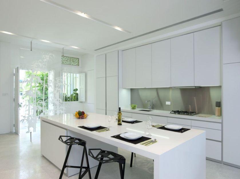 Moderna cocina en color blanco planos de arquitectura for Cocinas modernas color blanco