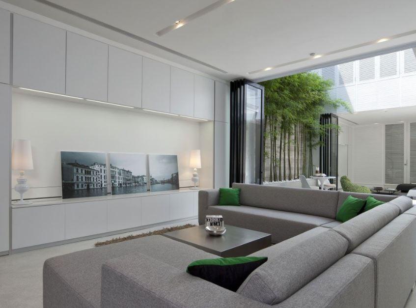 Moderna sala en color gris