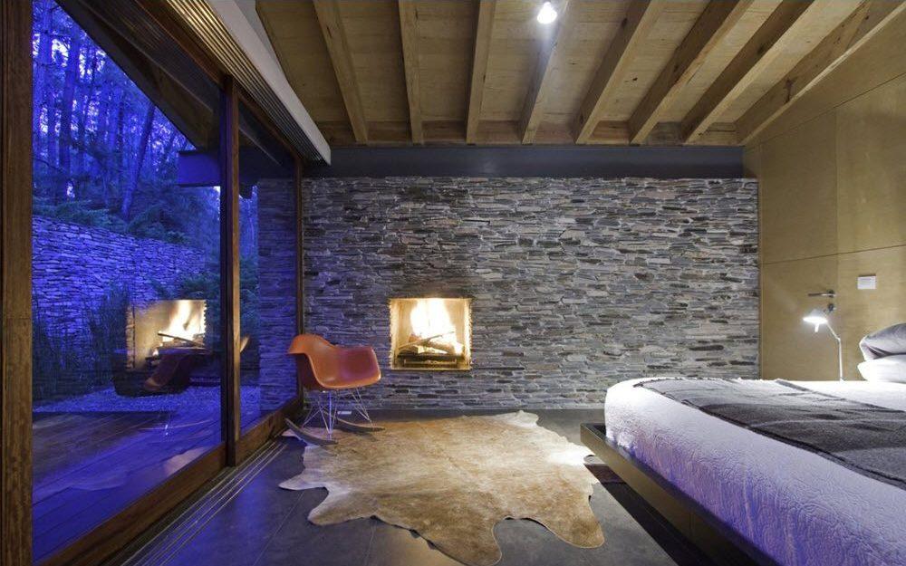 Dise o casa de campo moderna planos de arquitectura - Pared de piedra interior ...