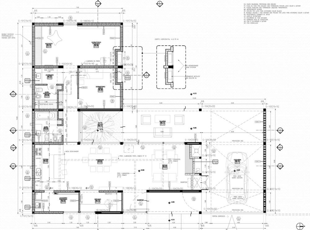 Casa de un piso construida en concreto planos de for Arquitectura de casas modernas planos