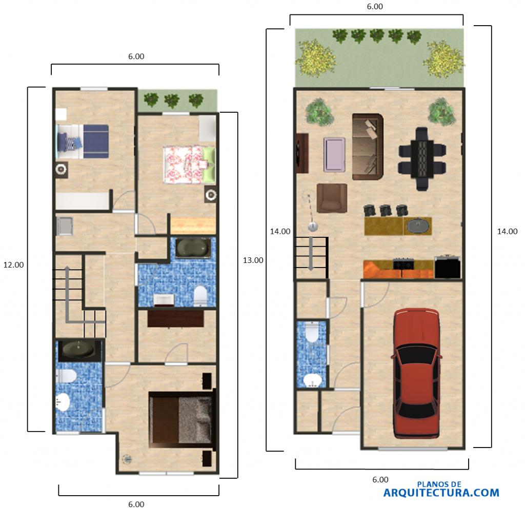 Dise o de casa peque a 84 m planos de arquitectura for Planos de casas pequenas de una planta