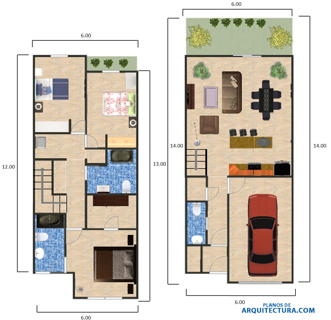 Dise o de casa peque a 84 m planos de arquitectura for Planos de casas de dos dormitorios
