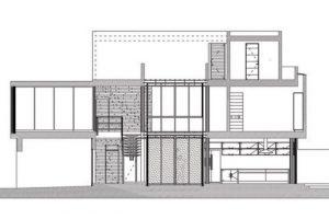 Plano de corte casa dos pisos mas terraza