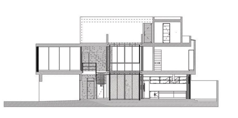 Plano de corte casa dos pisos mas terraza planos de for Planta arquitectonica de una oficina