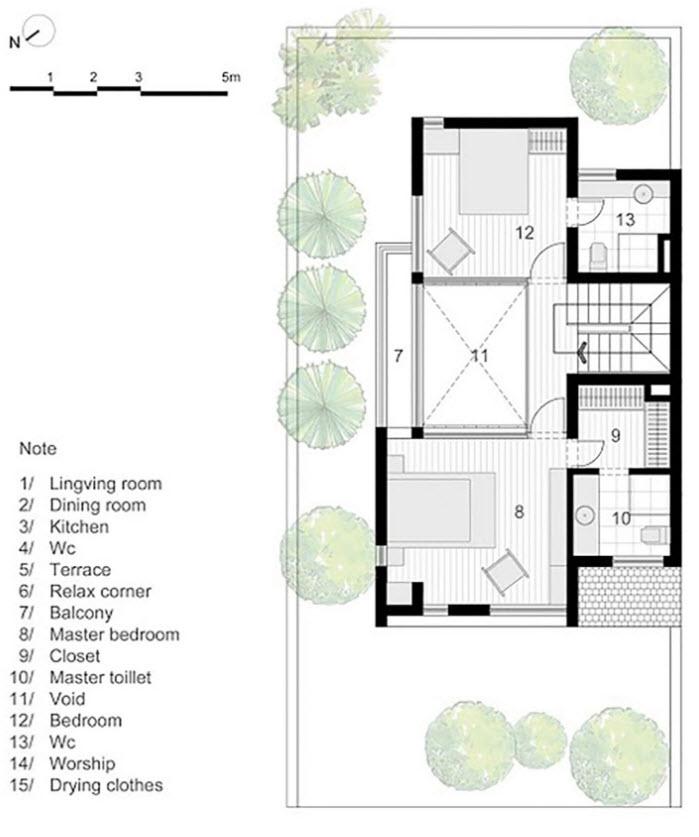 Segundo nivel de la casa de tres dormitorios
