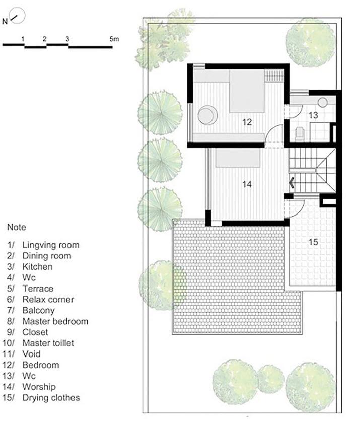 Tercer nivel de la casa de tres pisos