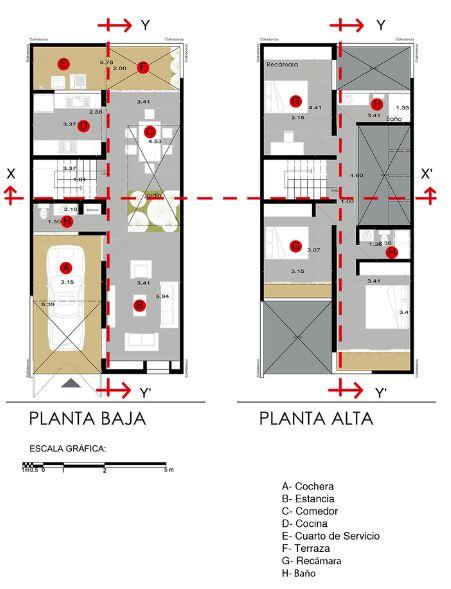 Planos de la pequeña y económica casa de dos pisos