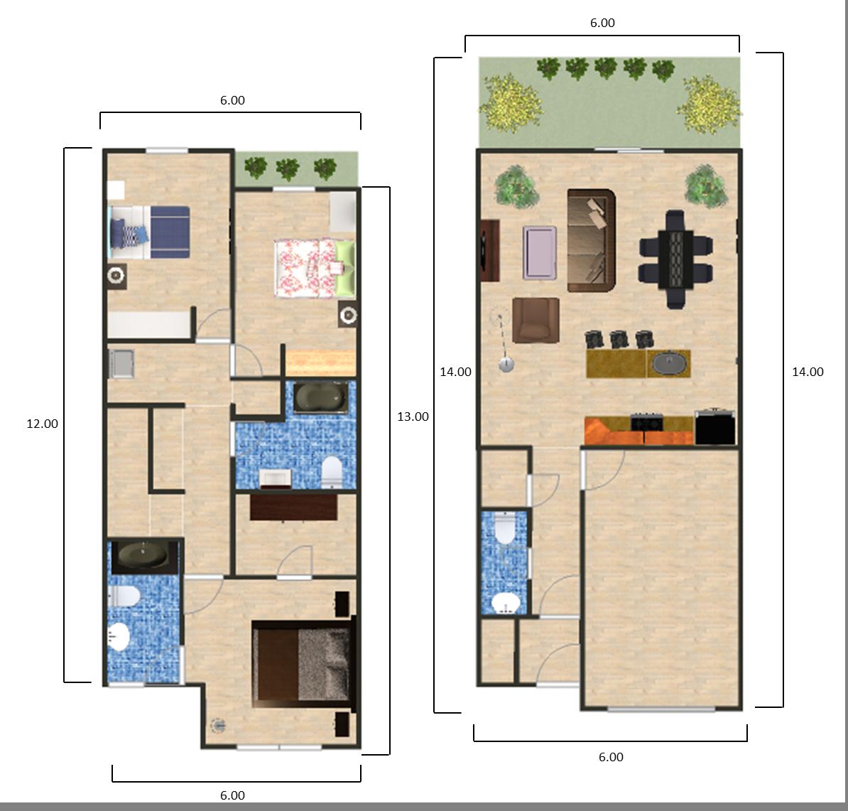 Dise o de interiores de la peque a casa planos de for Diseno de planos