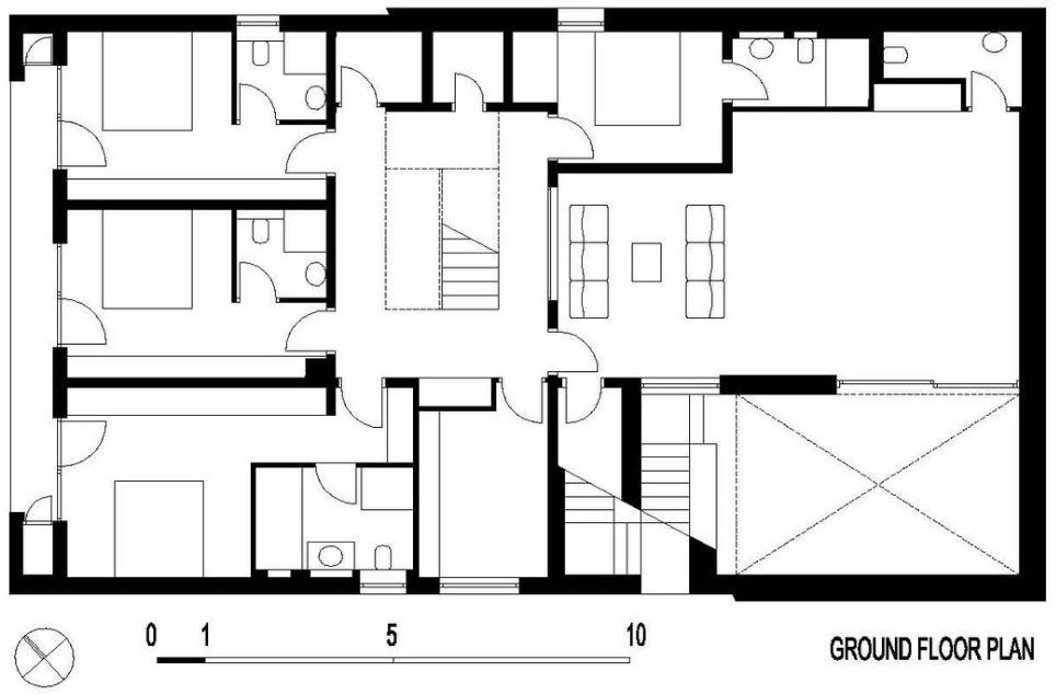 Plano de casa con cuatro dormitorios