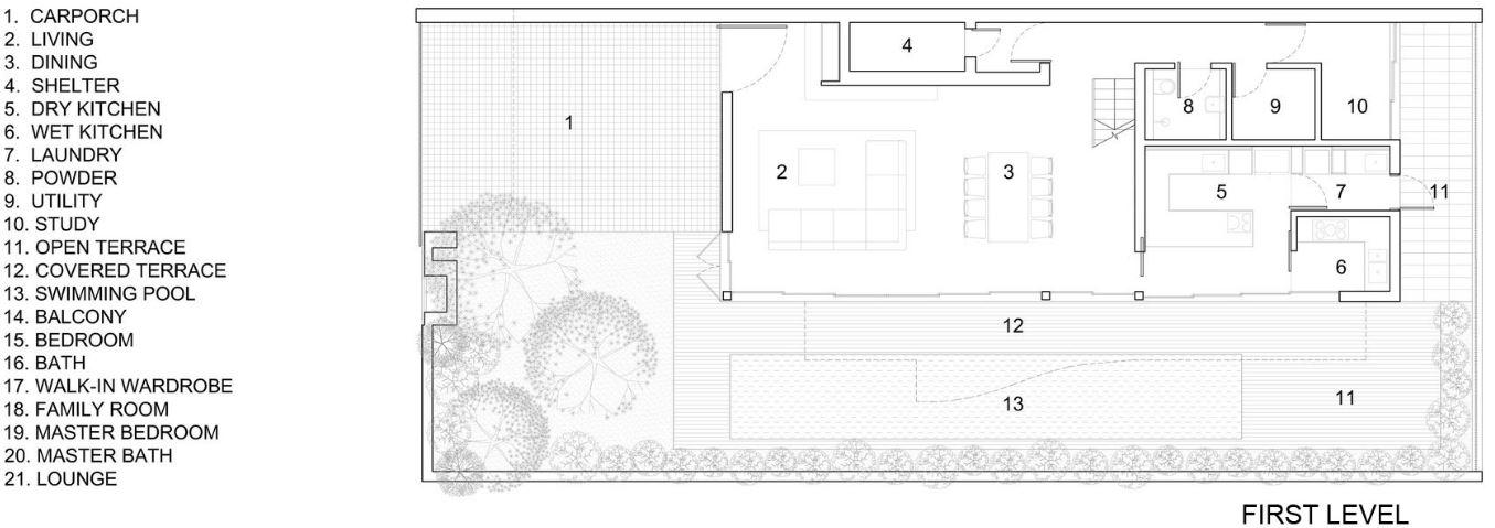 Plano de casa de dos pisos en terreno rectangular