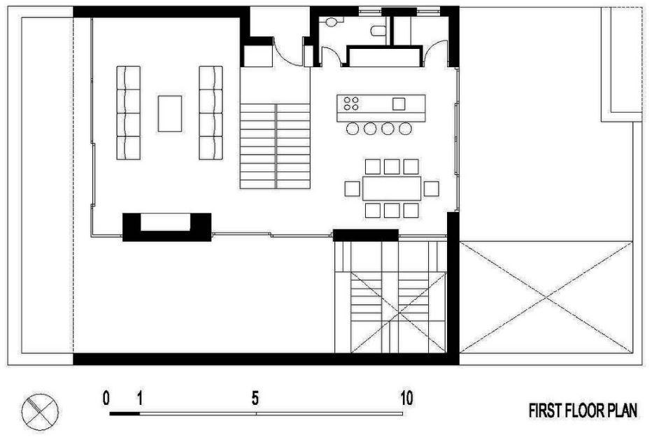 Planta del segundo nivel de casa moderna