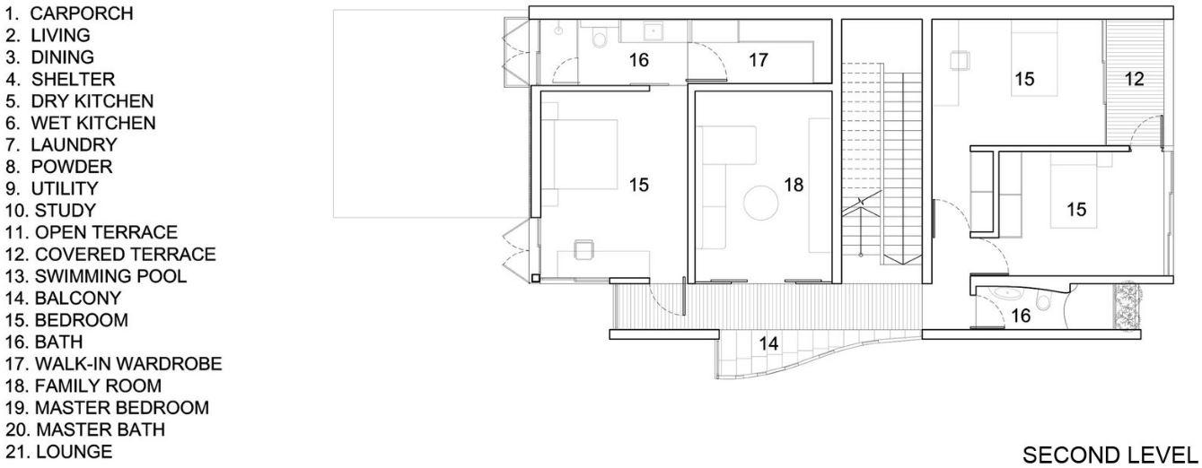 Plano de casa dos pisos y tres dormitorios