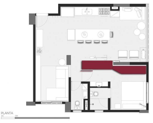 Dise o departamento 30 m2 planos de arquitectura for Distribucion apartamentos pequenos