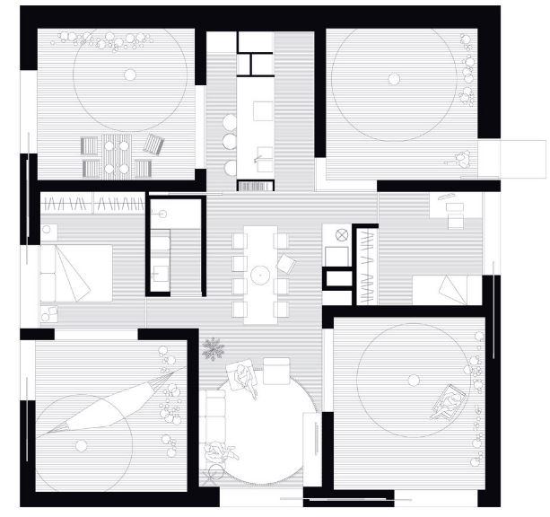 Plano de casa de campo de 99 metros cuadrados