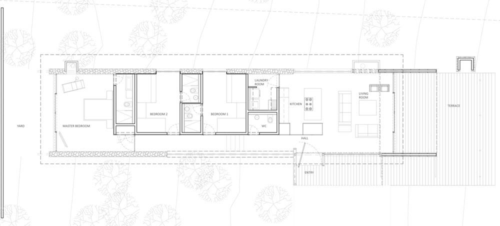 Plano de casa de campo tres dormitorios