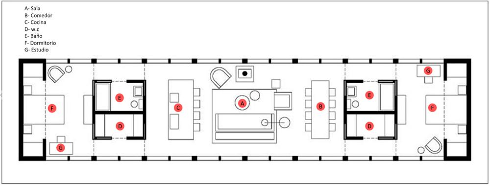 Plano de casa de campo de dos dormitorios