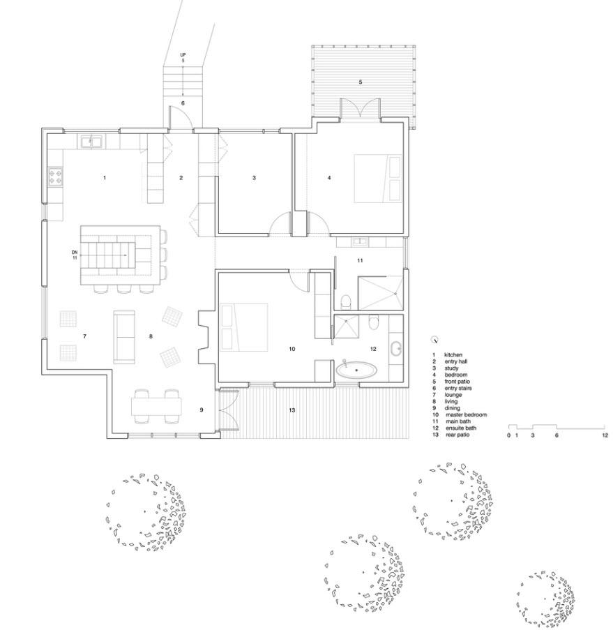 Plano de casa de un piso y dos dormitorios
