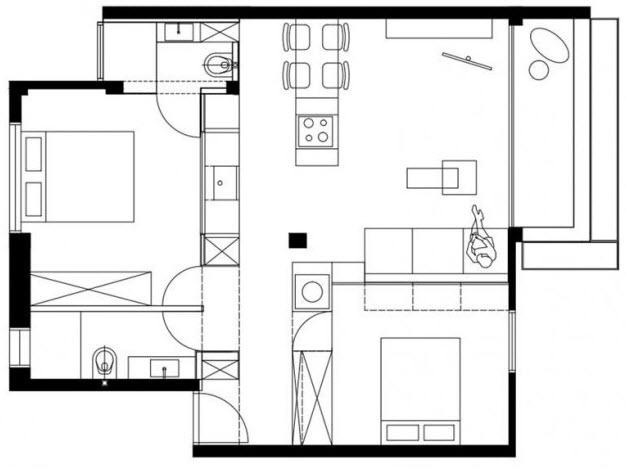 Plano de departamento pequeño de dos dormitorios