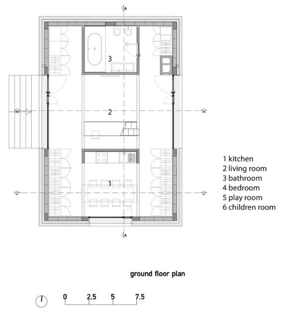 Plano de primera planta de cabaña