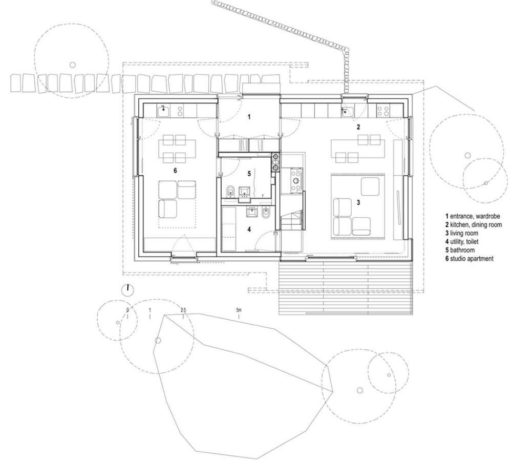 Plano de primer piso de pequeña casa de campo