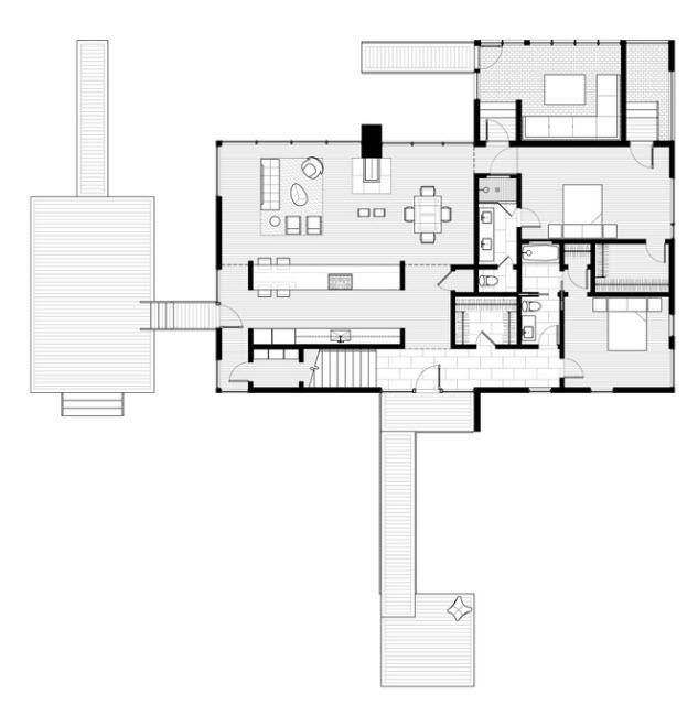 Casa moderna de dos pisos y tres dormitorios planos de for Plano casa moderna 3 habitaciones