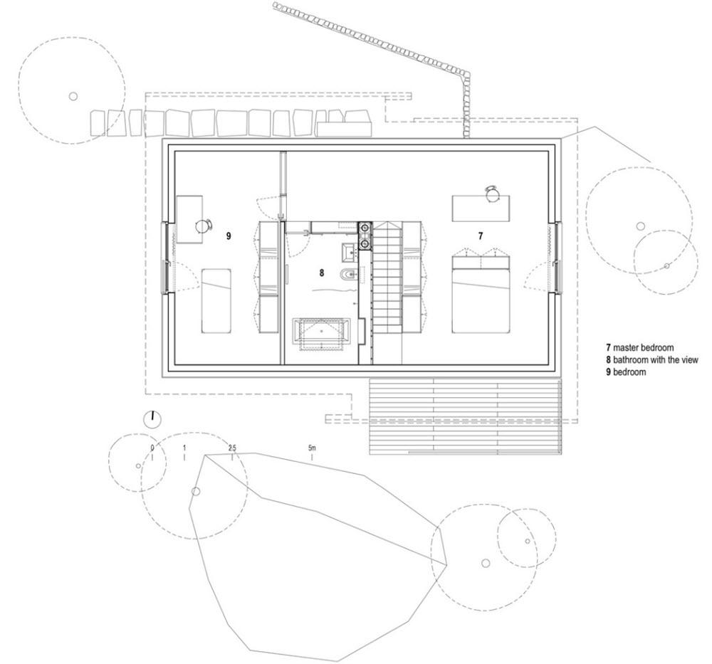 Segunda planta de la casa pequeña dos dormitorios