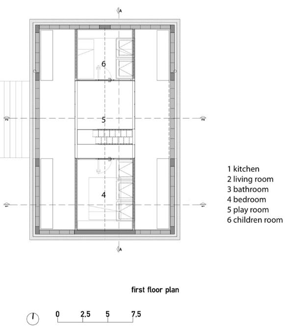 Plano del segundo nivel de cabaña
