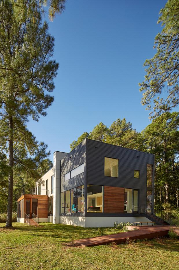 Perspectiva de casa de dos pisos moderna