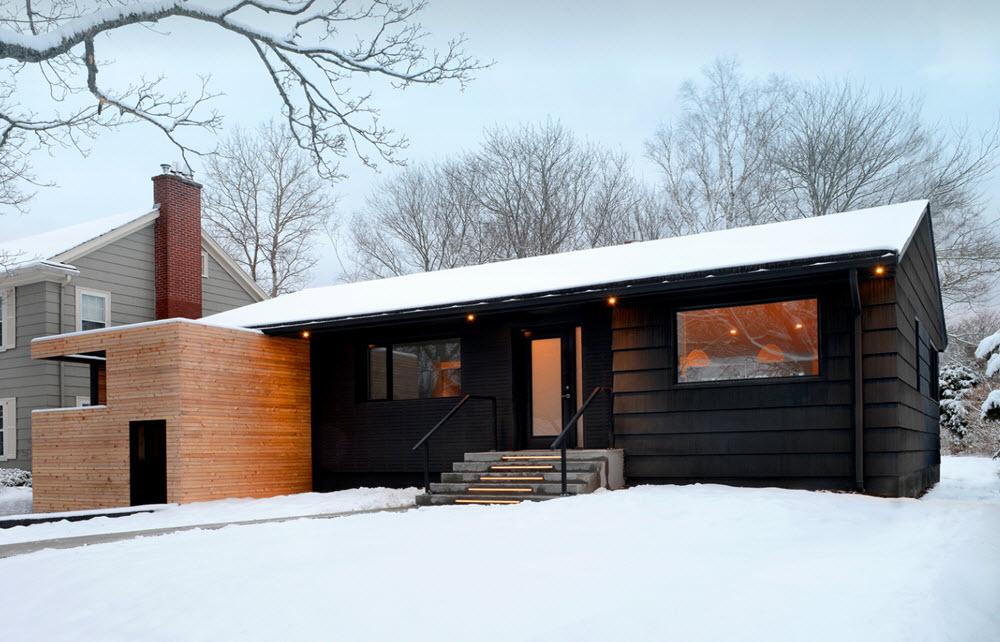 Diseño de casa de madera en la nieve