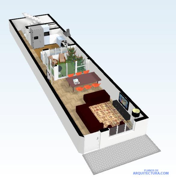 planos de casas pequenas angostas