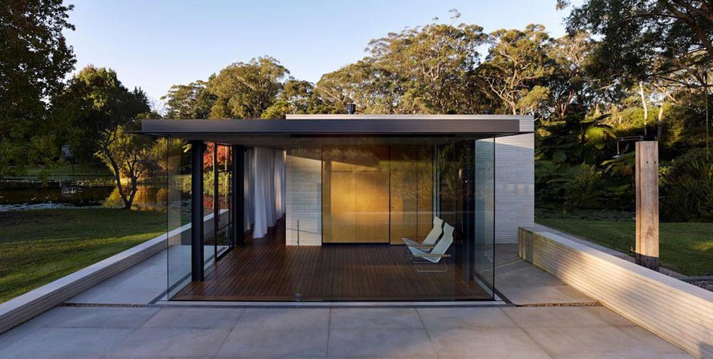 Bloque de cristal en casas modernas de campo