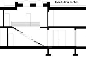 Corte longitudinal de la casa de ciudad