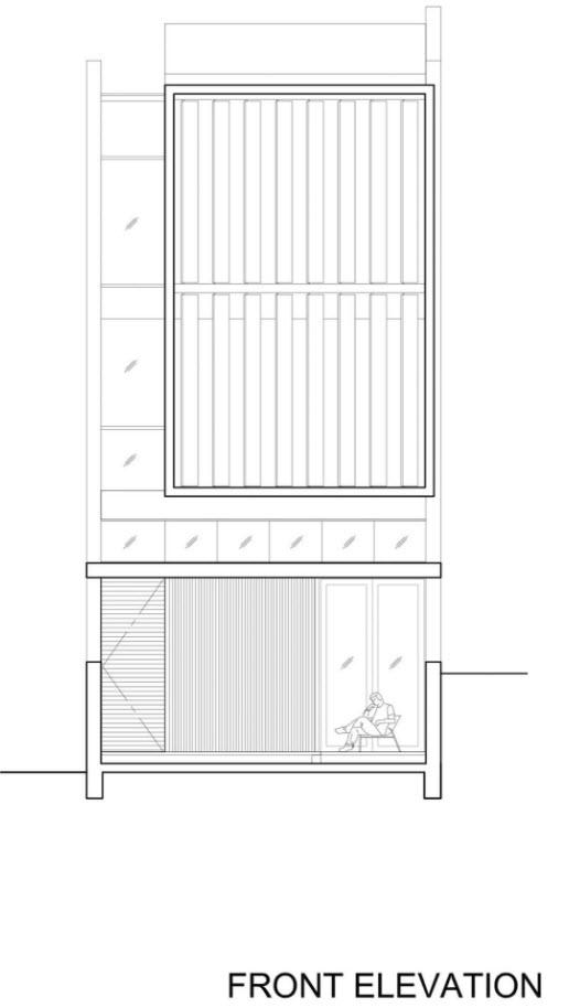 Plano de fachada principal de la moderna casa