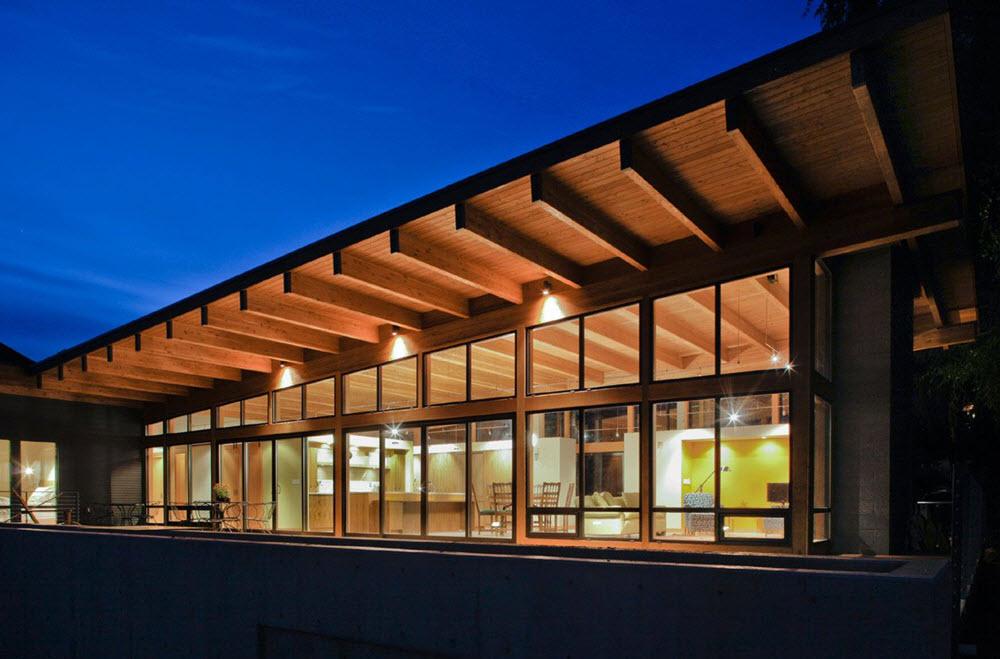 Casa de un piso moderna de madera planos de arquitectura for Fachada de casa moderna de un piso