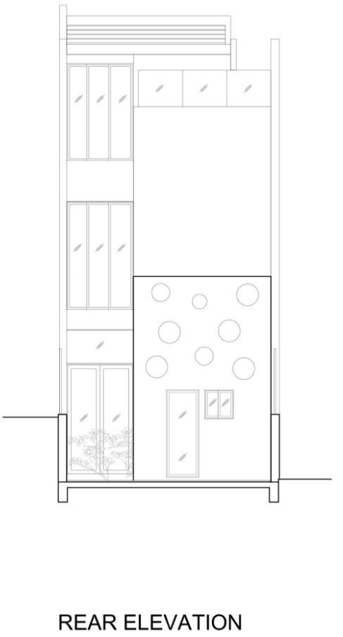 Plano de fachadaposterior de la hermosa casa