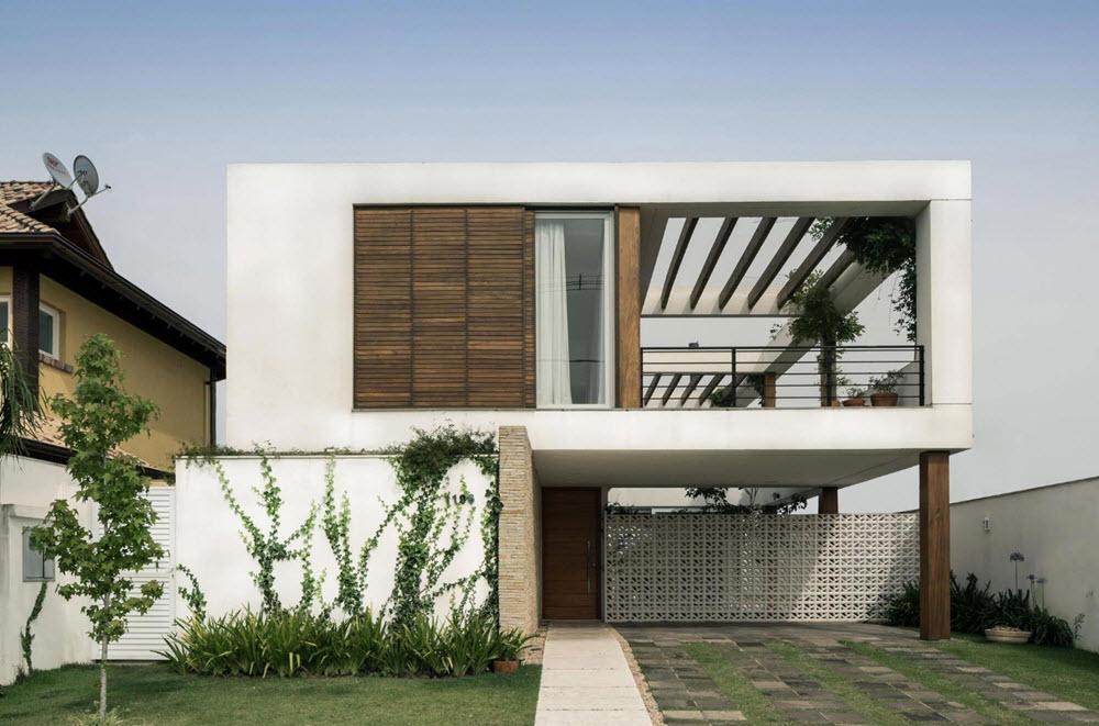 Hermosa terraza con vegetaci n y techos virtuales planos - Fachadas para terrazas ...