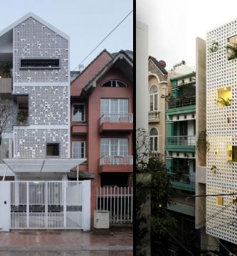 Hermosas casas de cuatro pisos