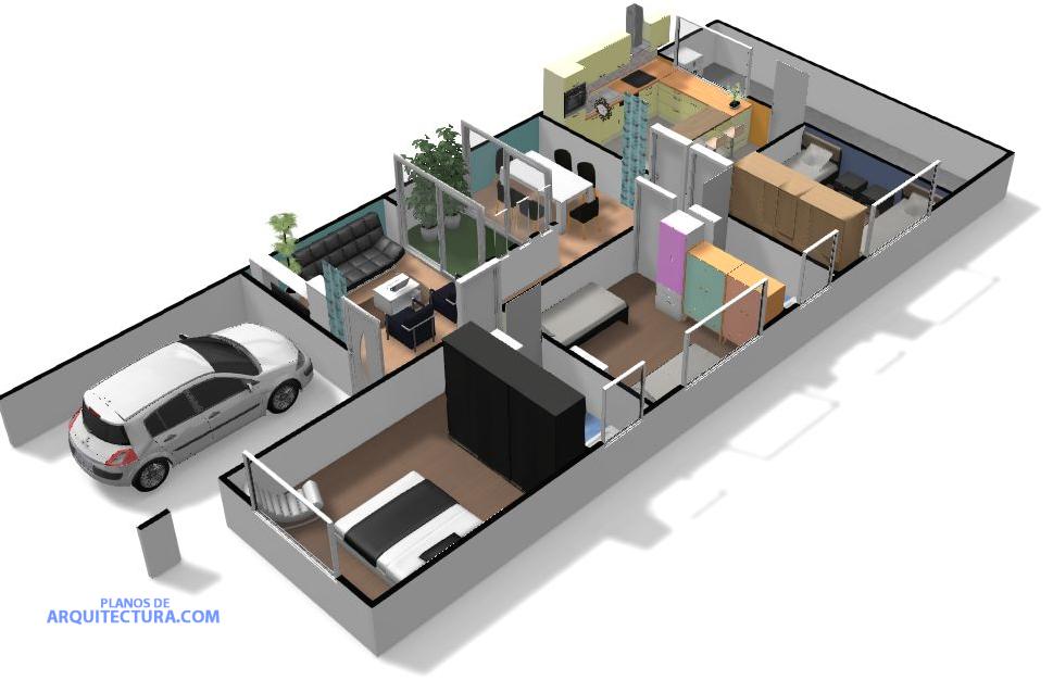 Idea de plano de casa de un piso planos de arquitectura for Planos de casas modernas en 3d