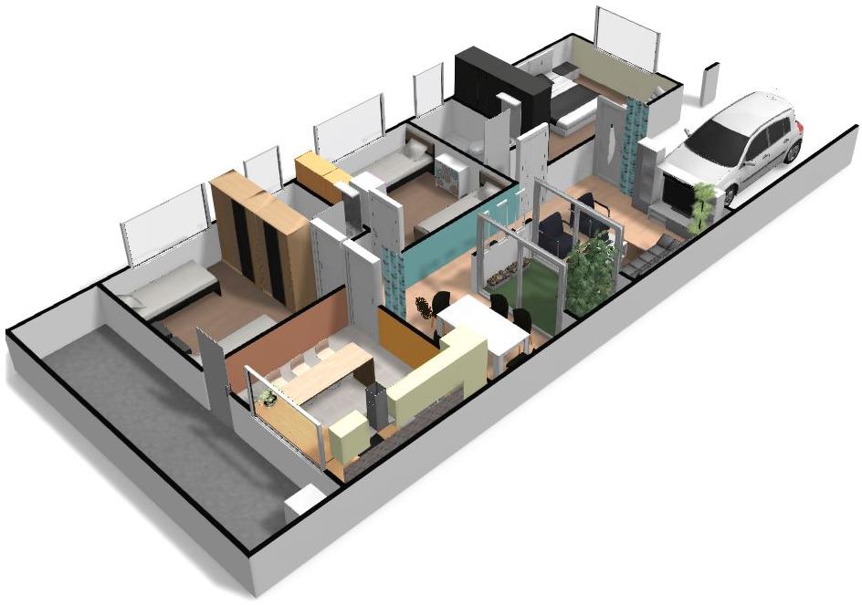 Imagen 3d de la casa de ciudad planos de arquitectura - Planos en 3d de casas ...