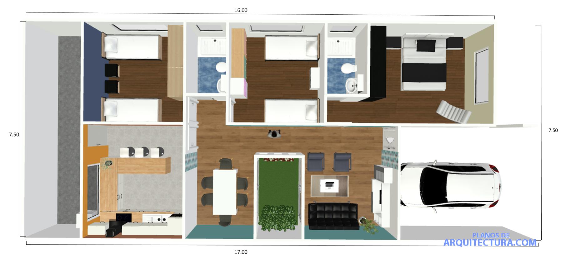 Idea de casa peque a de un piso 127 metros cuadrados for Programa para distribuir una casa