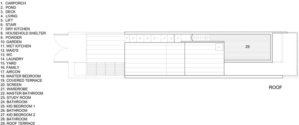 Plano de la azotea con amplia terraza