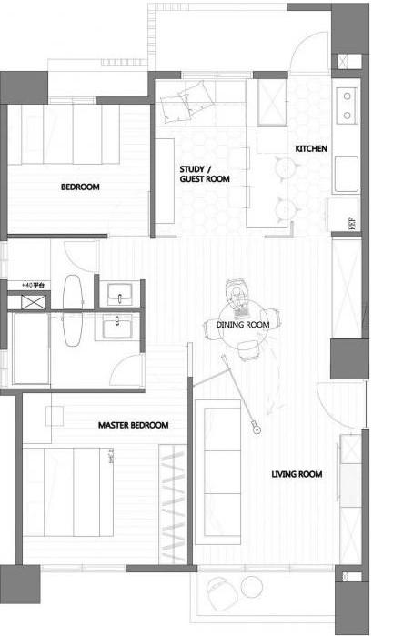 Plano del pequeño departamento de tres dormitorios