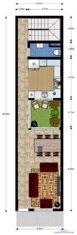 Plano del primer nivel en terreno largo y angosto