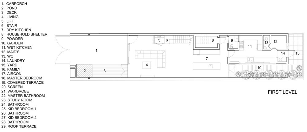 Plano del primer nivel de casa pequeña