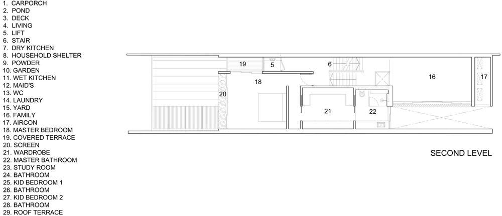 Plano del segundo nivel de casa moderna